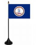 Virginia Desk / Table Flag with plastic stand and base.